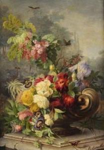 Eléonore Escallier composition florale sur un entablement