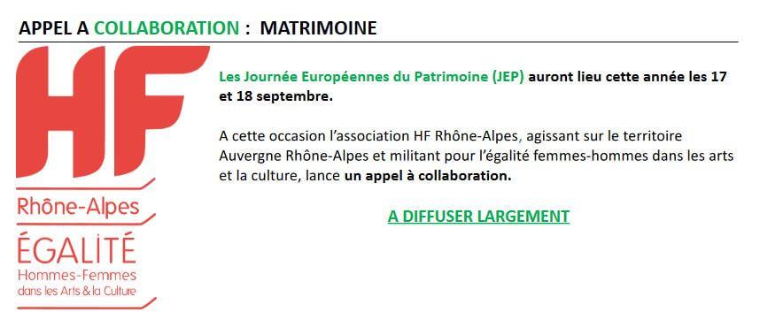 HF RHÔNE-ALPES LANCE UN APPEL A  COLLABORATION  MATRIMOINE